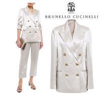 BRUNELLO CUCINELLI☆W-breasted bead crinkled-satin blazer