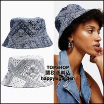 TOPSHOP★関送込プリントリバーシブルバケットハット(青)