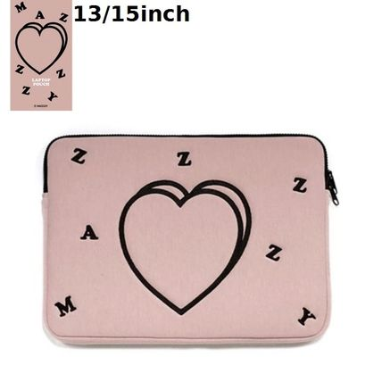 MAZZZZY スマホケース・テックアクセサリー MAZZZZY★韓国 人気雑貨★heart laptop pouch Indi pink PC CASE