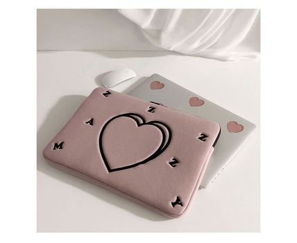 MAZZZZY スマホケース・テックアクセサリー MAZZZZY★韓国 人気雑貨★heart laptop pouch Indi pink PC CASE(4)