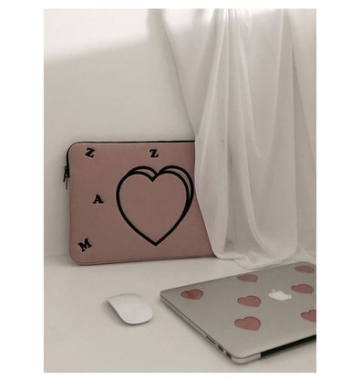 MAZZZZY スマホケース・テックアクセサリー MAZZZZY★韓国 人気雑貨★heart laptop pouch Indi pink PC CASE(9)