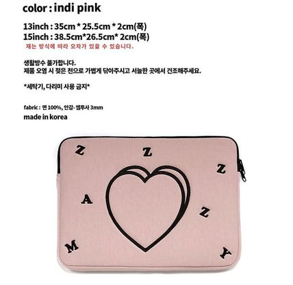 MAZZZZY スマホケース・テックアクセサリー MAZZZZY★韓国 人気雑貨★heart laptop pouch Indi pink PC CASE(10)
