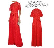 LELA ROSE☆Belted crepe de chine-trimmed corded lace gown