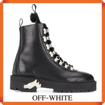 OFF WHITE LEATHER HIKING BOOTS