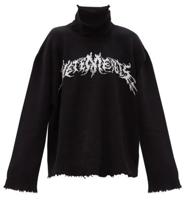 ◆国内発◆【VETEMENTS】 Logo-embroidered wool-blend セーター