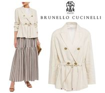 BRUNELLO CUCINELLI☆W-breasted gathered ビーズ 麻&綿 blazer