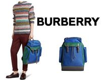 BURBERRY Tri-tone Nylon and Leather Backpack #4074249
