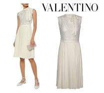 VALENTINO☆Pussy-bow guipure lace&pleated silk crepe dress