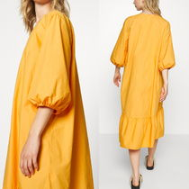 """MONKI"" Cotton midi dress July Orange"