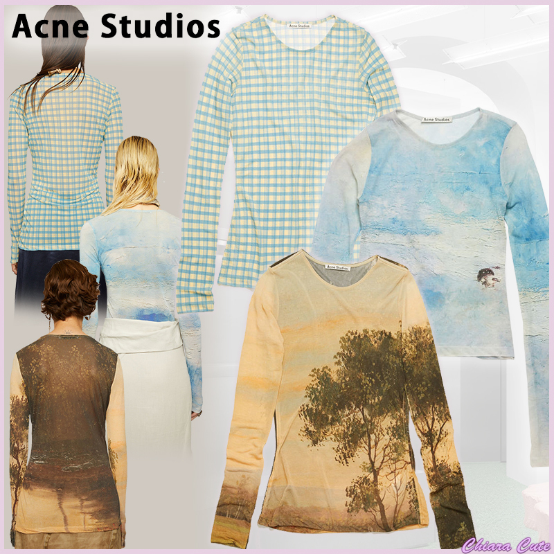 【20SS NEW】 Acne_women/Landscape-print jersey tops/トップス (Acne/Tシャツ・カットソー) 56189036