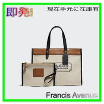 即発 COACH Branded Denim &Leather FieldToteデニムトート89488
