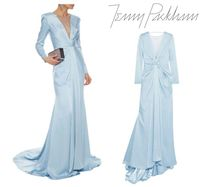 JENNY PACKHAM☆tulle-paneled gathered satin-crepe gown