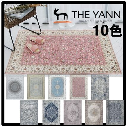 ★関税込★THE YANN★Mint Garlic Persian Drawing Circle Rug★
