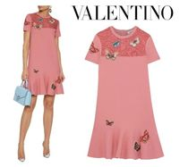 VALENTINO☆Appliqued corded lace-paneled knitted mini dress