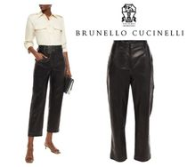 BRUNELLO CUCINELLI☆Cropped leather straight-leg pants