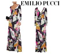 Emilio Pucci☆Crystal ruched printed jersey maxi dress