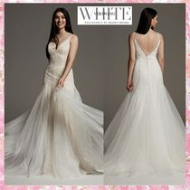 SALE**White by Vera Wang**Plunging Tulle Godetオーバードレス