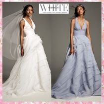 SALE*White by Vera Wang*Tiered Organza T-Back Ballドレス 2色