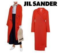 [関税・送込] JIL SANDER☆Brushed wool-blend twill wrap coat