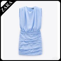 ★ZARA★ DRAPED DRESS WITH SHOULDER PADS