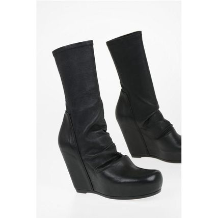 RICK OWENS ミドルブーツ Rick Owens◆Leather SOCK WEDGE Pull On Booties 12 cm