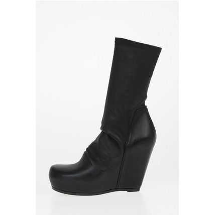 RICK OWENS ミドルブーツ Rick Owens◆Leather SOCK WEDGE Pull On Booties 12 cm(3)