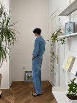 [ ASCLO ] Works Control Button Denim Jumpsuit (Blue)
