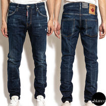 関税込DSQUARED2 2020FW Dark Deep Blue-Wash Skater Jeans ロゴ