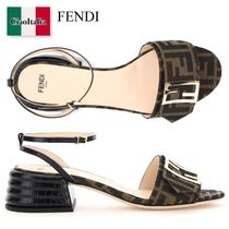 Fendi Brown fabric sandals