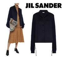 JIL SANDER☆Ribbed knit-paneled cashmere-felt jacket