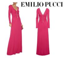 Emilio Pucci☆Crystal-embellished ruched jersey maxi dress