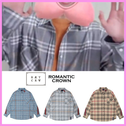 ROMANTIC CROWN☆ジョンハン, DK着用☆BACK LINE CHECK SHIRT☆