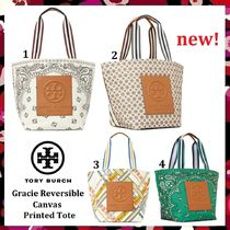 セール 新作 Tory Burch Cute! Gracie Printed Canvas Tote Bag