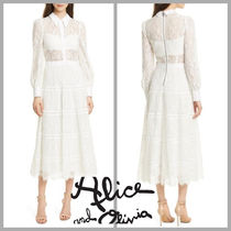【Alice+Olivia】Anaya Lace Midi Shirtdress