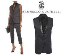 BRUNELLO CUCINELLI☆Embellished satin herringbone 綿 vest
