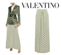 VALENTINO☆Pleated floral-print textured-lame maxi skirt
