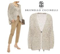 BRUNELLO CUCINELLI☆Sequin-embellished open-knit cardigan