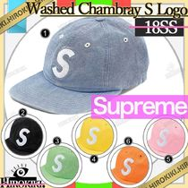 18SS /Supreme Washed Chambray S Logo 6-Panel Cap Sロゴ