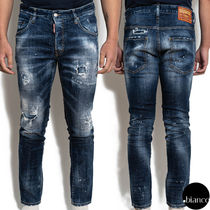 関税込DSQUARED2 2020FW Holy Dark Wash Skater Jeans ダメージ
