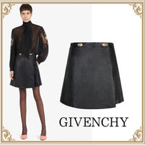GIVENCHY☆ Gold クラスプ Leather Wallet ミニスカート Black