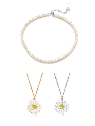 VINTAGE HOLLYWOOD ネックレス・ペンダント 人気☆Classic Pearl Necklace + Vintage Daisy Necklace_2Color