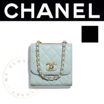 CHANEL クラッチ cc ロゴ 新作 チェーン バッグ ポシェット 青