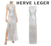 Herve leger(エルベレジェ) ワンピースその他 関税・送込HERVE LEGER☆Fringed appliqued metallic tulle gown