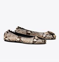 Tory Burch MINNIE TRAVEL BALLET FLAT, EMBOSSED LEATHER