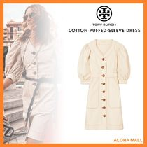 【Tory Burch】COTTON PUFFED-SLEEVE DRESS♪パフスリーブドレス