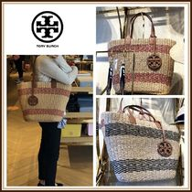 Tory Burch☆MILLER STRAW STRIPE TOTE☆かごトート☆送料込