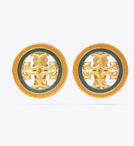 Tory Burch MILLER GUILLOCHE CLIP-ON EARRING