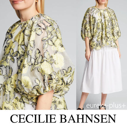 CECILIE BAHNSEN* フローラル プリント パフスリーブ ブラウス
