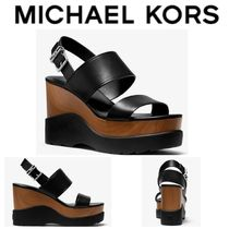 【Michael Kors】セール●Rhett Logo and Leather Wedge Sandal