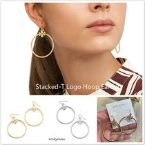 即発 Tory Burch★Stacked-T Logo Hoop Earring 上品!